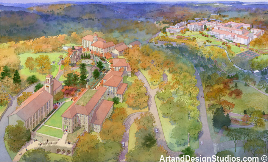 Aerial rendering. View of a new college campus