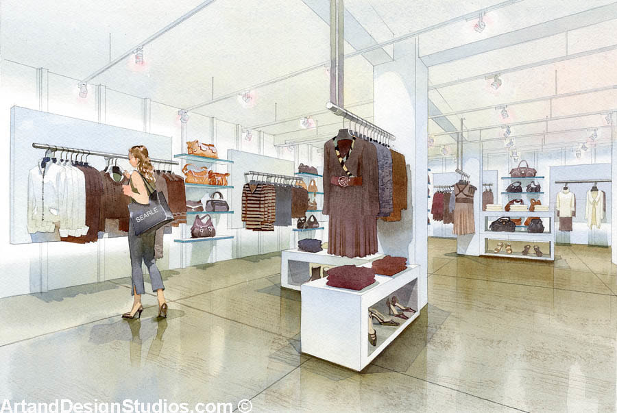 Interior rendering of a retail space in New York