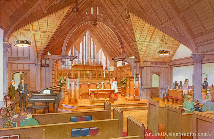 Interior architectural illustration. Rendering of a historic church interior