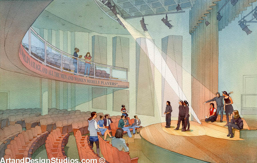 Interior rendering of Friends Select School Performing Arts Center