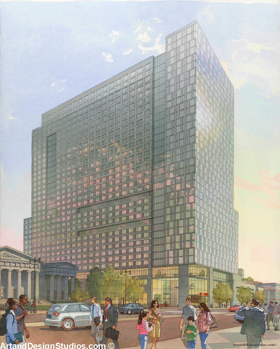 Architectural rendering of a proposed mixed-use development at Broad Street in Philadelphia