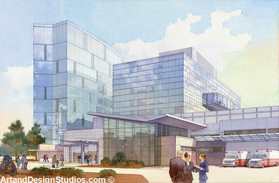 Exterior rendering of a hospital.