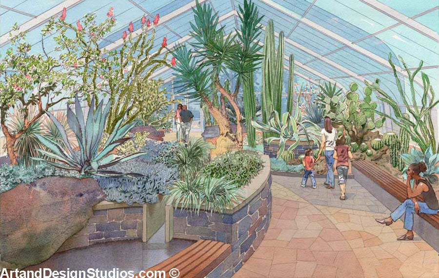 Rendering of a conservatory and botanical garden.