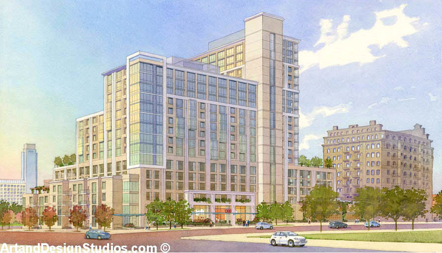 Watercolor architectural illustration of  a high-rise mixed-use development in Philadelphia, PA
