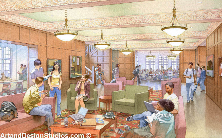 image of a rendering of UPENN's Arch Building student lounge interior