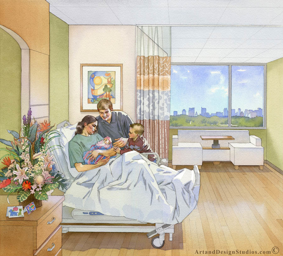 Interior rendering of a maternity suite room in a hospital