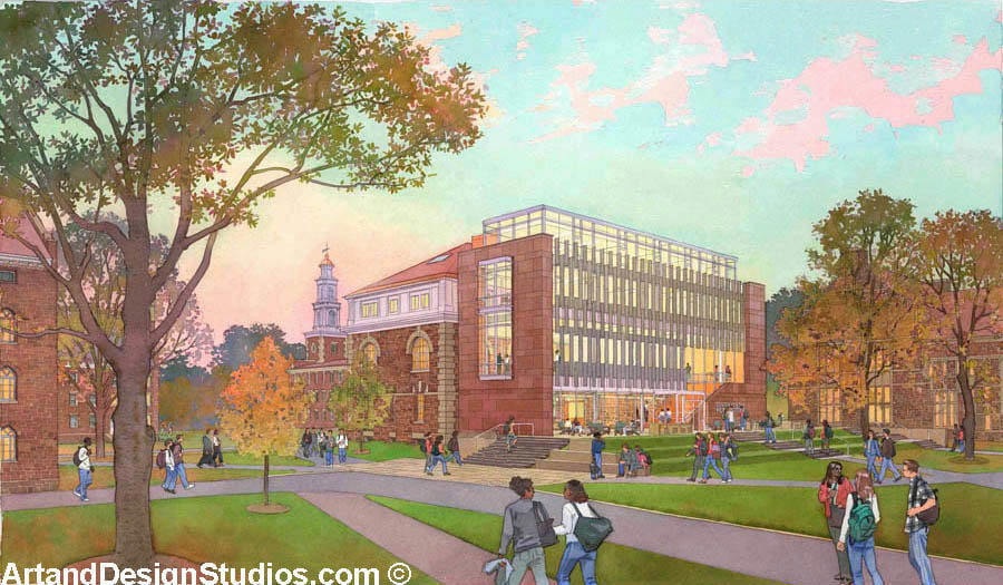 Architectural rendering of a new college building at dusk