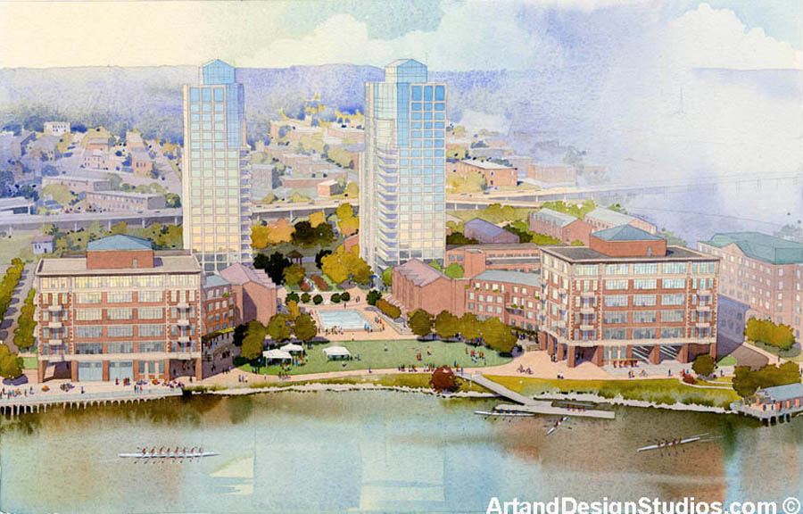 Waterfront development rendering. Watercolor.