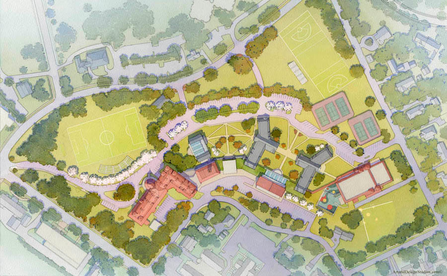 Masterplan rendering in watercolor for architects and lansdcape designers.