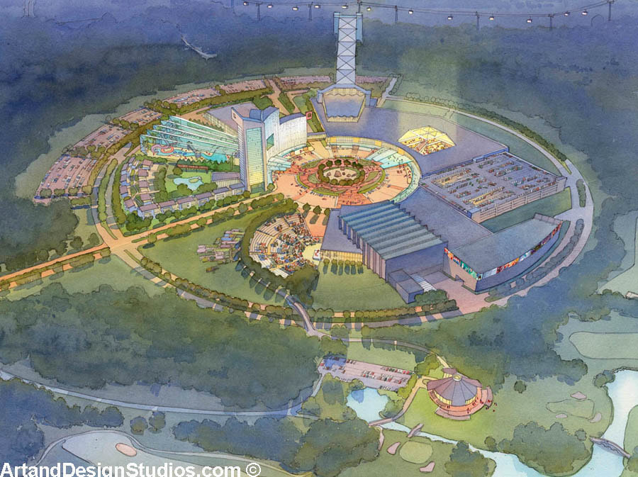 Watercolor rendering of a resort and casino in East Asia. Aerial view.