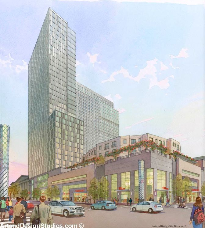 Mixed-use development architectural watercolor rendering