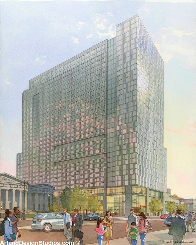 Architectural watercolor rendering of a mixed-use development in Philadelphia, PA