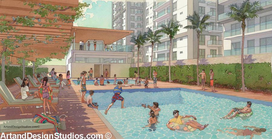 Watercolor rendering. Swimming pool.