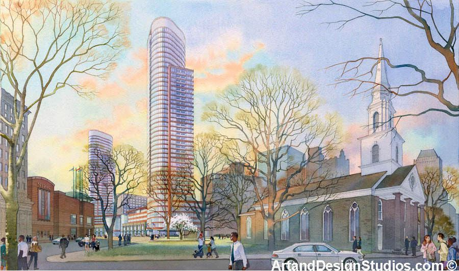 Watercolor rendering of mixed-use NJPAC development in Newark, NJ