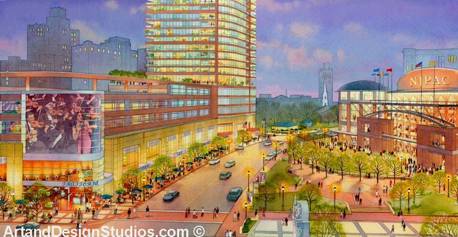 Dusk watercolor rendering of NJPAC proposed plaza and mixed-use development