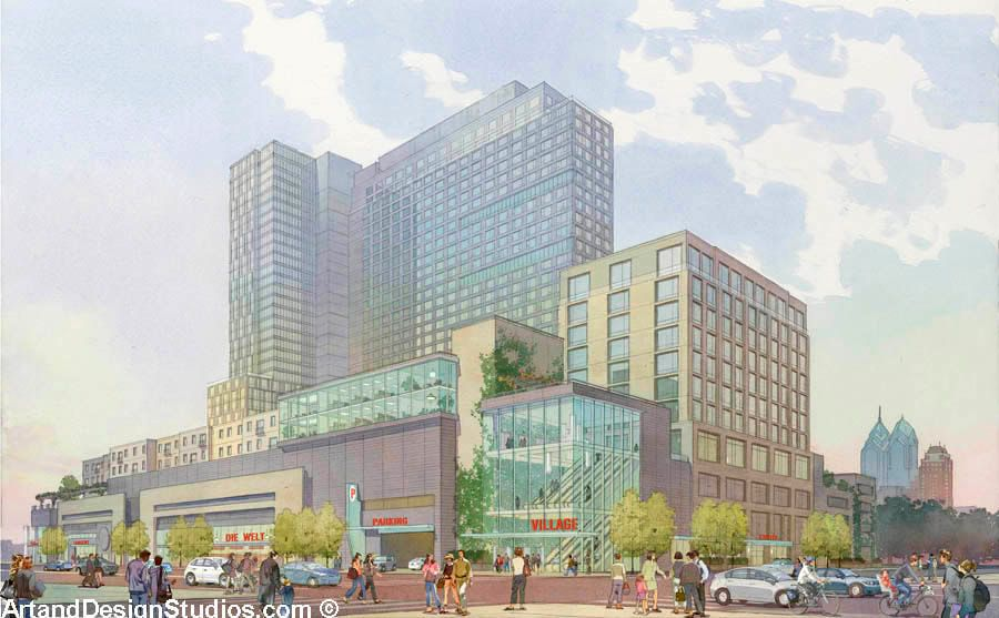 rendering of a mixed-use development