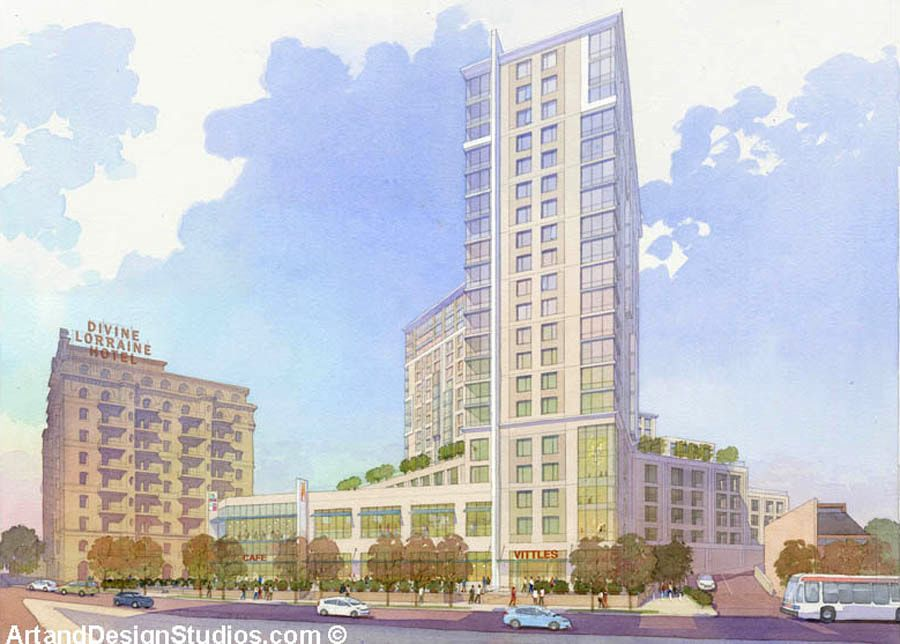 Watercolor rendering of a mixed-use development on Broad Street in Philadelphia.