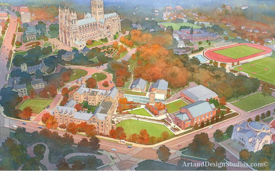 Aerial watercolor rendering of the National Cathedral and St. Albans School in Washington, DC