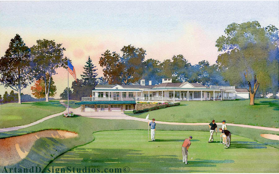 Architectural watercolor rendering of a golf course